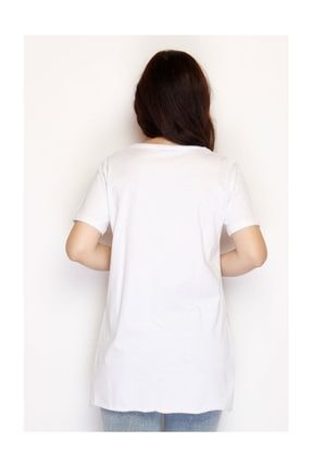 Lukas Yırtmaçlı Penye Tunik Tişört Beyaz - 1063.275. 3