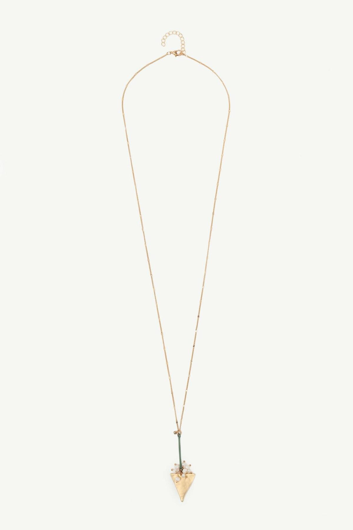 Yargıcı Kadın Altın Geometrik Desenli Uzun Kolye 0YKBJ8217X