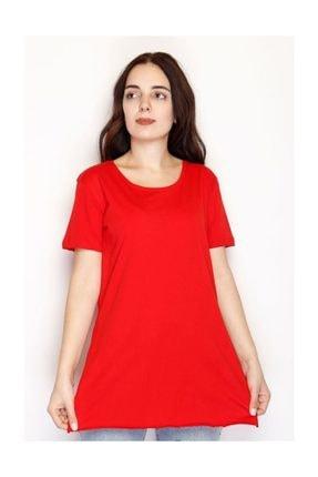 Lukas Yırtmaçlı Penye Tunik Tişört Kırmızı - 1063.275. 2