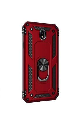 Vision Samsung Galaxy J7 Pro Kılıf Vega Zırhlı Standlı Mıknatıslı Kırmızı 0