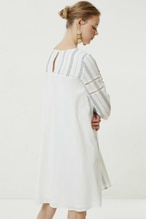 Yargıcı Kadın Lacivert Desenli Biye Detaylı Uzun Kollu Elbise 0YKEL7140X 3