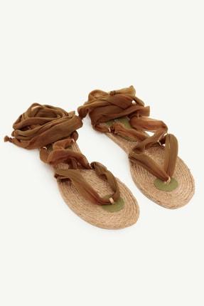 Yargıcı Kadın Haki Jut Tabanlı Kumaş Sandalet 0YKAY4009X 3