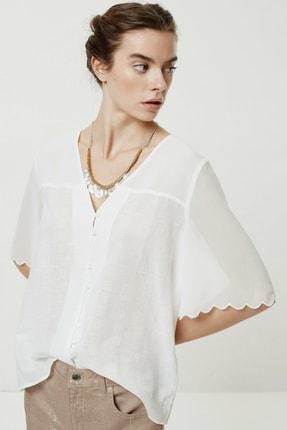 Yargıcı Kadın Beyaz Şifon Detaylı Bluz 0YKGM6162X 2