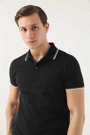 D'S Damat Erkek Siyah Slim Fit Pike Dokulu T-shirt 1