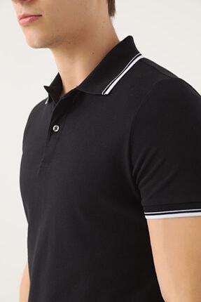 D'S Damat Erkek Siyah Slim Fit Pike Dokulu T-shirt 2