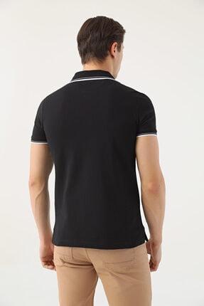 D'S Damat Erkek Siyah Slim Fit Pike Dokulu T-shirt 4