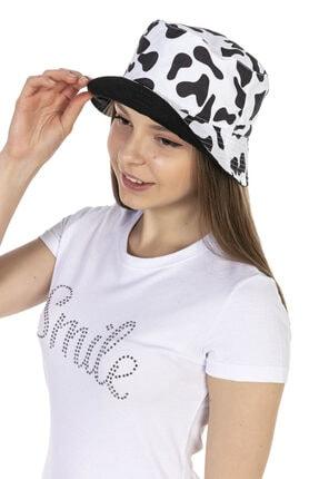 Y-London 14018 Inek Desenli Çift Taraflı Beyaz-siyah Bucket Şapka 3