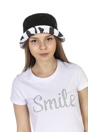 Y-London 14018 Inek Desenli Çift Taraflı Beyaz-siyah Bucket Şapka 4