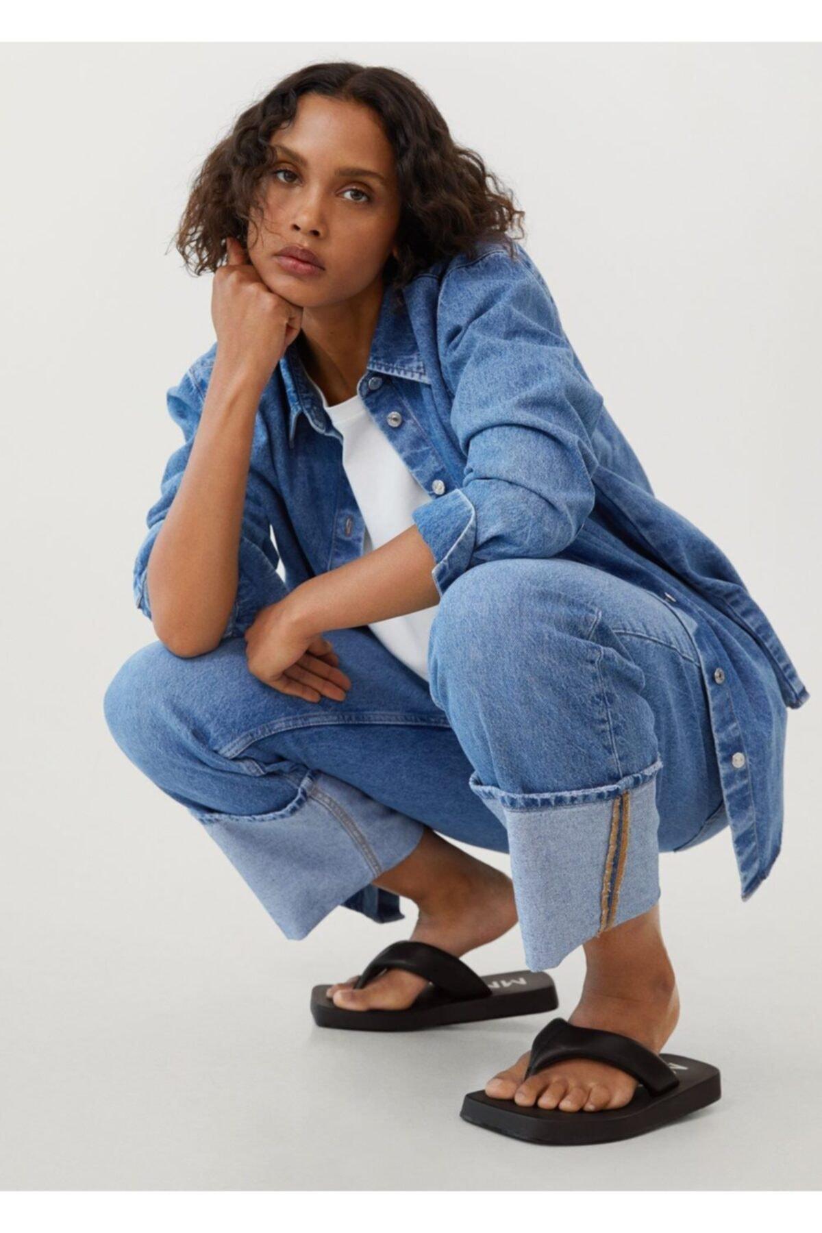 Mango Kadın Siyah Kapitone Platform Sandalet