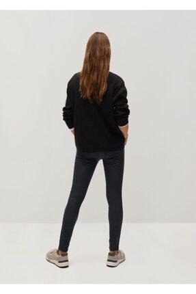 Mango Kadın Siyah Deri Görünümlü Skinny Push-Up Jean Pantolon 3