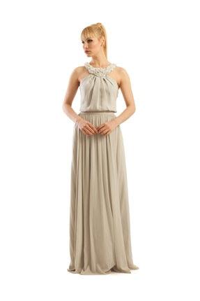 Gri Uzun Abiye Elbise 7100u