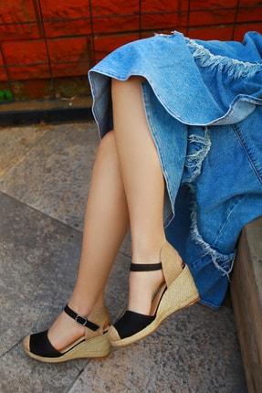 TRENDBU AYAKKABI Kadın Siyah Süet Dolgu Topuklu Ayakkabı 2