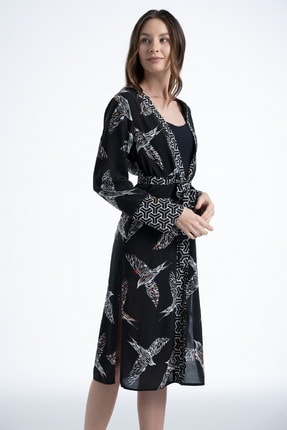 Rossa İntimo Kadın Kuş Desenli Siyah Kimono & Kaftan 3