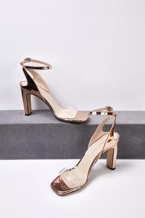 Picture of Kadın Rose Gold Şeffaf Bantlı Dolgu Topuklu Abiye Ayakkabısı ALICIA