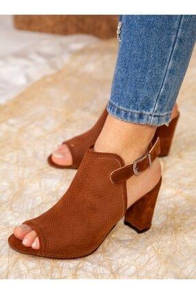 ayakkabıhavuzu Kadın Taba Süet Topuklu Ayakkabı 1