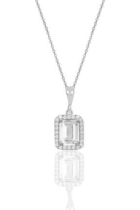 Söğütlü Silver Gümüş Baget Taşlı Kolye Sgtl10058Rodaj 0