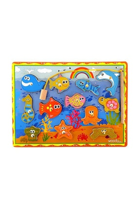 WoodyLife Ahşap Balık Tutma İpe Dizme Bultak Oyunu Montessori Çocuk Etkinlik Zeka 0