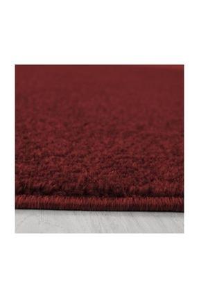 AYYILDIZ Modern Desenli Halı Kısa Havlı Bulanık Düz Renkli Bordo Kırmızı 2