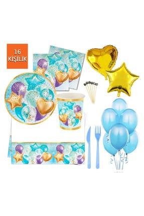 16 Kişilik Uçan Balonlar Işıltılı Doğum Günü Parti Seti 145 Parça Mavi 191W59202MA