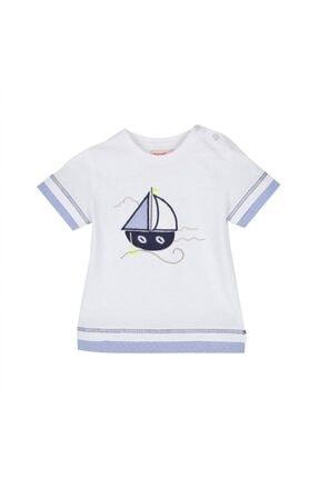 تصویر از Erkek Bebek Beyaz Renkli Baskılı Omuzdan Düğmeli Kısa Kollu Tişört - Bk 115298