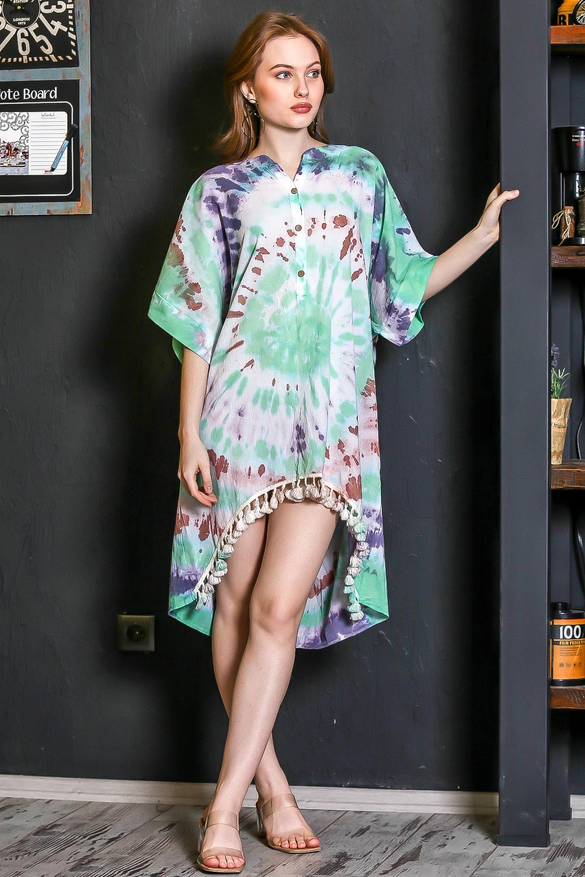 Chiccy Kadın Yeşil Patı Düğmeli Etek Ucu Püsküllü Batik Desen Salaş Elbise M10160000EL95224 1