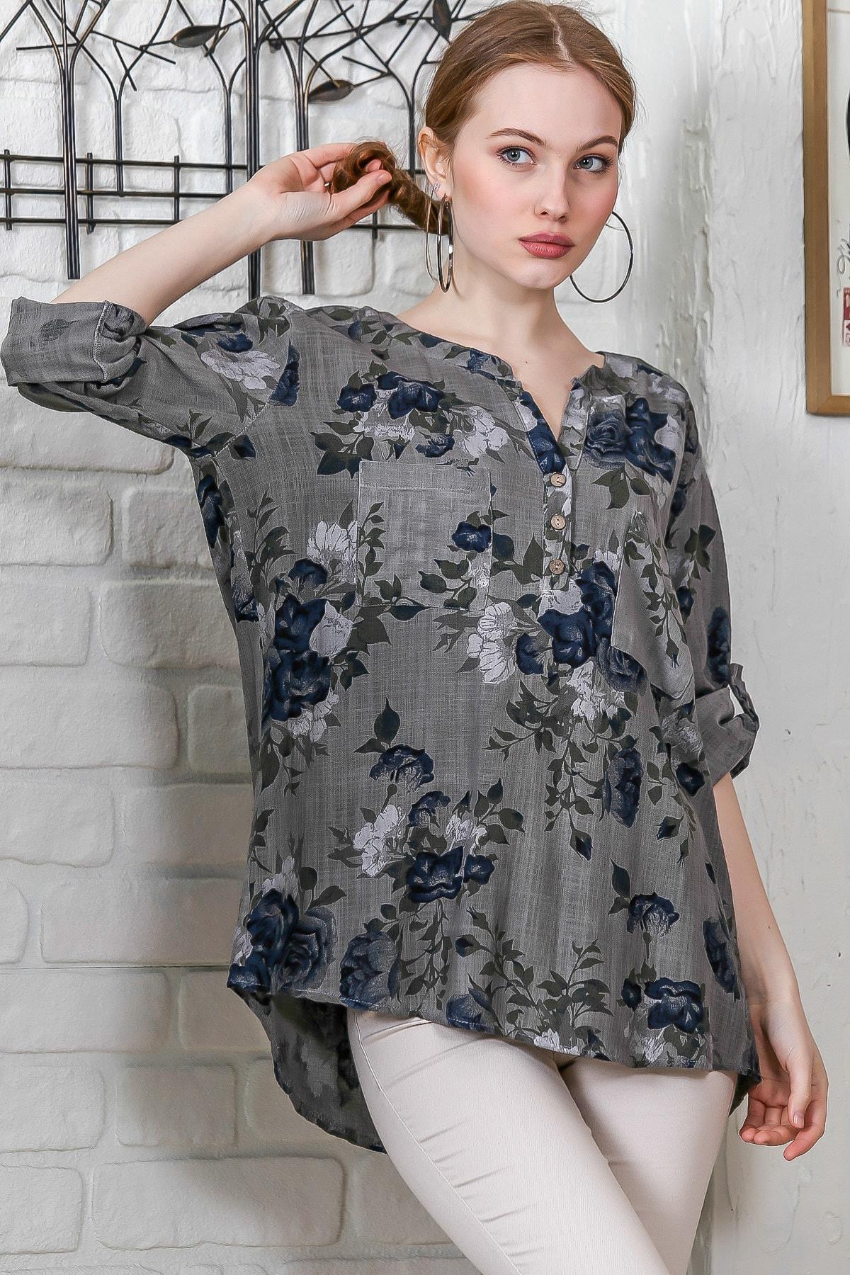Kadın Füme Sıfır Yaka Patı Düğme Detaylı Çiçek Desenli Salaş Gömlek M10010200BL95486