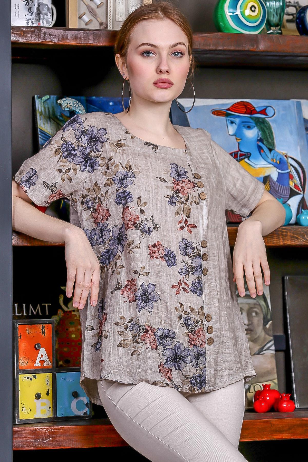 Chiccy Kadın Bej-Rose U Yaka Çiçek Bloklu Süs Düğme Detaylı Kısa Kollu Bluz M10010200BL95492 0
