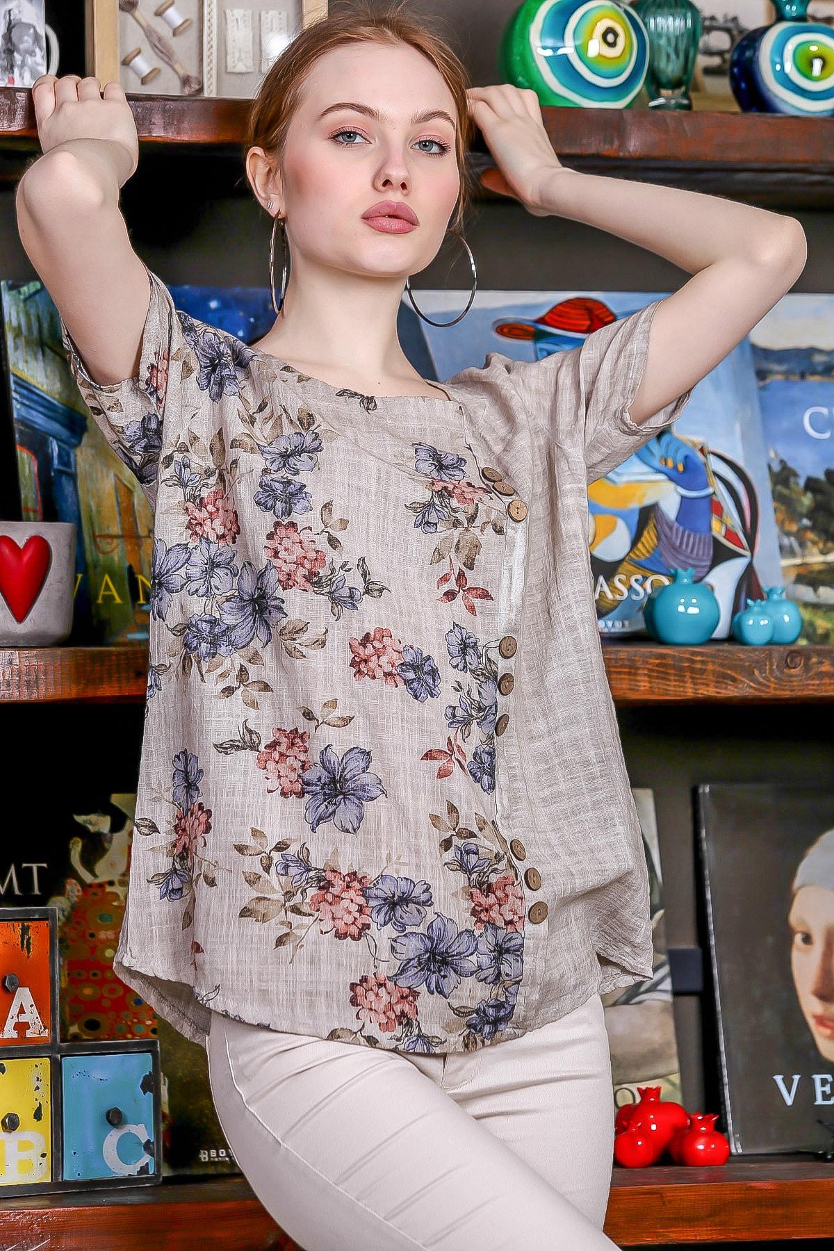 Chiccy Kadın Bej-Rose U Yaka Çiçek Bloklu Süs Düğme Detaylı Kısa Kollu Bluz M10010200BL95492 1