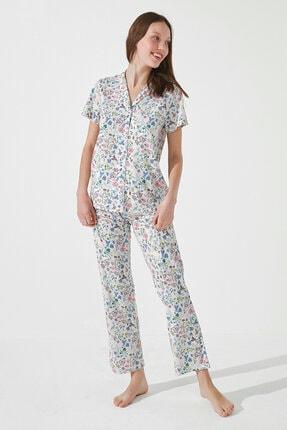 Penti Kadın Gri Gift Light Floral Gömlek Pantolon Takımı 1