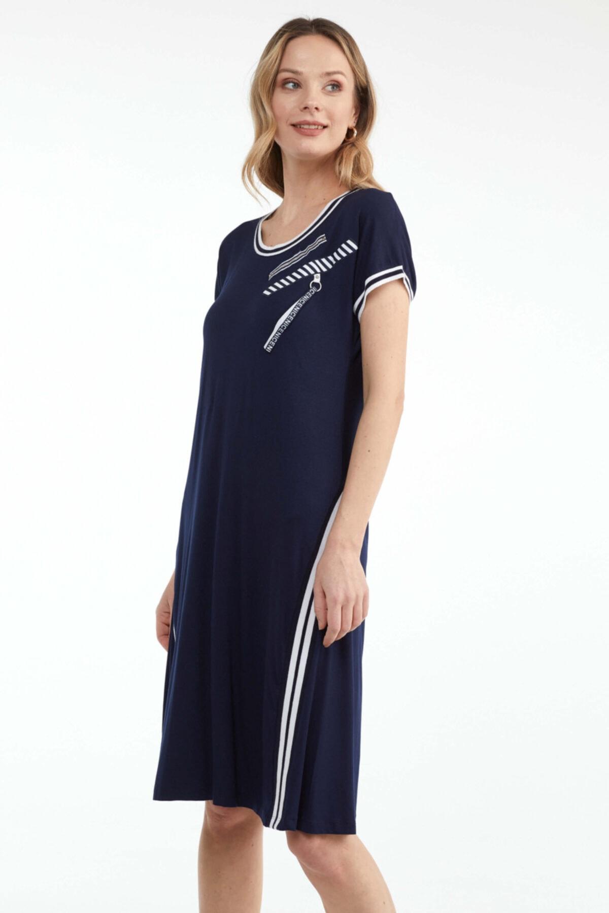 Büyük Beden Kadın Kısa Kol Elbise - Lacivert