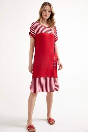 Sementa Marine Kısa Kol Kadın Elbise - Kırmızı 2