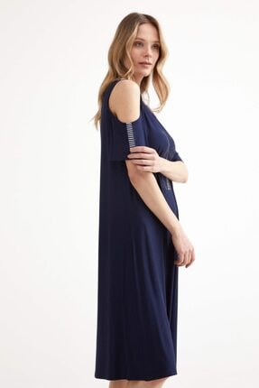 Sementa Pencere Kol Büyük Beden Taş Detaylı Kadın Elbise - Lacivert 2