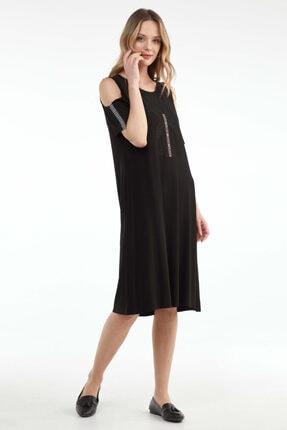 Sementa Pencere Kol Büyük Beden Taş Detaylı Kadın Elbise - Siyah 1
