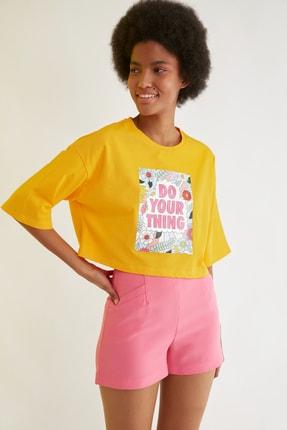 TRENDYOLMİLLA Turuncu Loose Crop Baskılı Örme T-Shirt TWOSS21TS2777 1