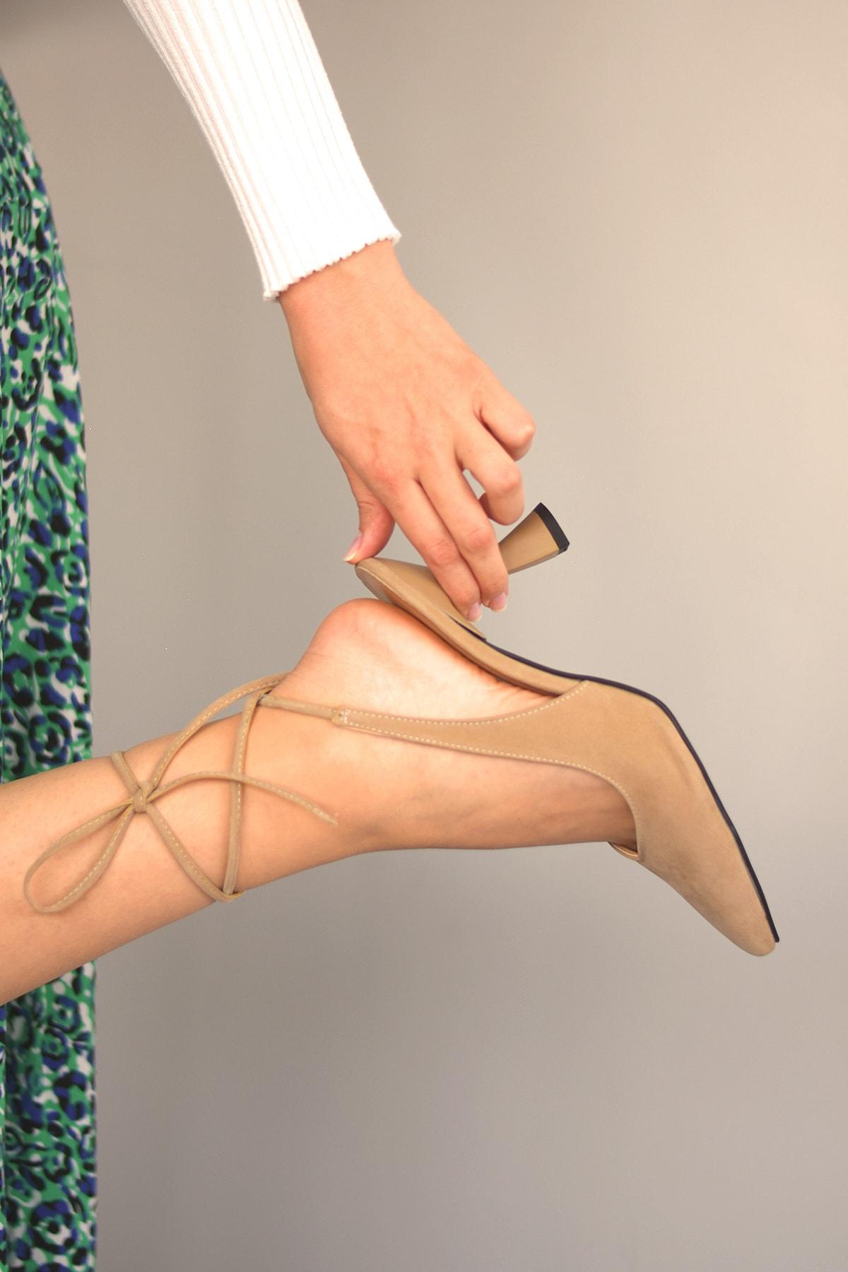 Nora Süet Vizon Topuklu Ayakkabı