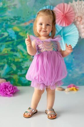 Picture of Lila Kız Bebek Tulum Balloon Mermaid