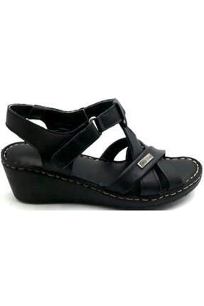 PUNTO -390107- Siyah %100 Deri Kadın Dolgu Taban Sandalet 2