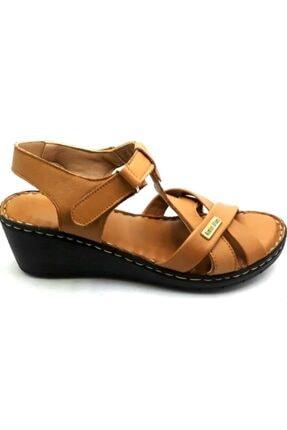 PUNTO -390107- Taba %100 Deri Kadın Dolgu Taban Sandalet 2