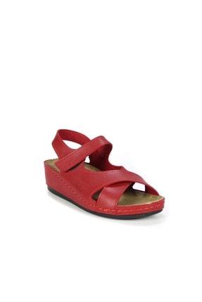 Akgün Kundura Kadın Cırtlı Çapraz Bantlı Sandalet No - Cilt - Kırmızı - 40 2