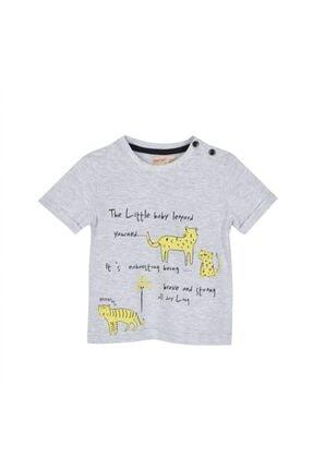 تصویر از Erkek Bebek Gri Melanj Renkli Baskılı Omuzdan Düğmeli Kısa Kollu Tişört