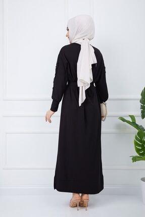 SULTAN BUTİK Kadın Siyah Kol İnci ve Dantel Detaylı Elbise 1