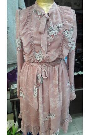 Kadın Pembe Şifon Firfirli Elbise cicekli elbise