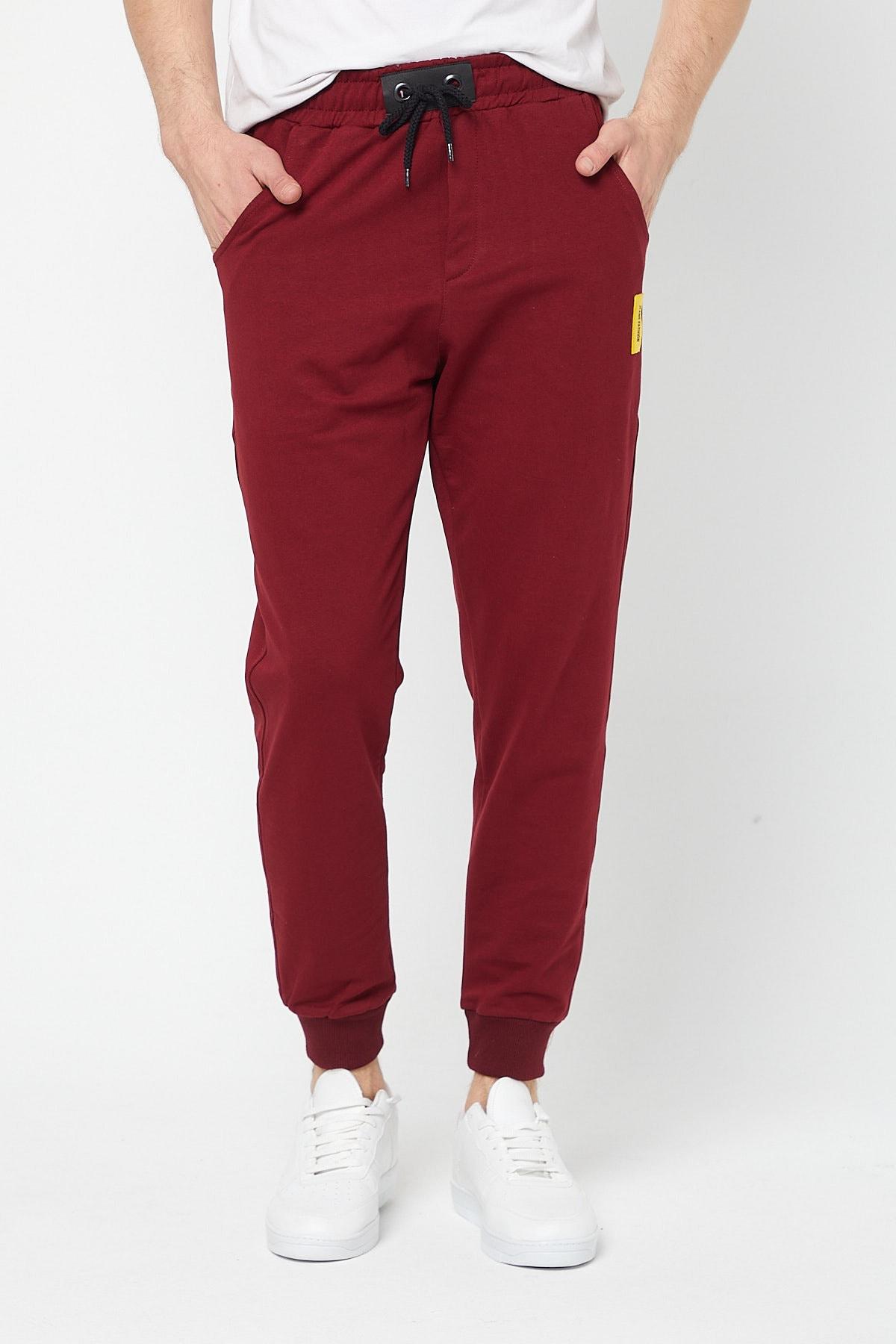 Erkek Bordo Jeans Fashion Günlük Eşofman Altı