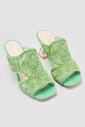 Limoya Kadın Yeşil Hasır İşlemeli Topuklu Terlik 1