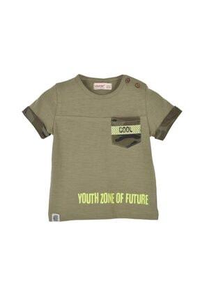 تصویر از Erkek Bebek Haki Renkli Baskılı Cepli Omuzdan Düğmeli Kısa Kollu T-Shirt