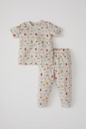 Defacto Erkek Bebek Desenli Kısa Kol Pijama Takımı 0