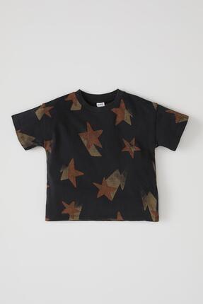 Defacto Erkek Bebek Yıldız Baskılı Kısa Kol Pamuklu Tişört 0