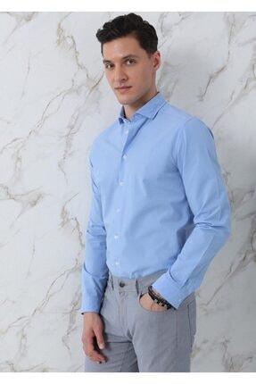 Ramsey Erkek Mavi Dokuma Uzun Kollu Gömlek 1