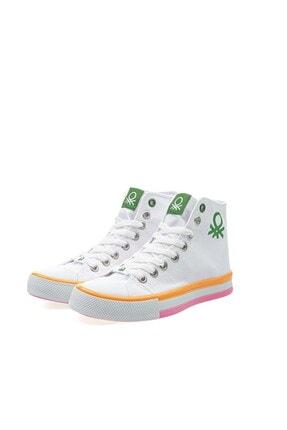 Benetton Kadın   Beyaz Turuncu  Spor Ayakkabı 30189 3