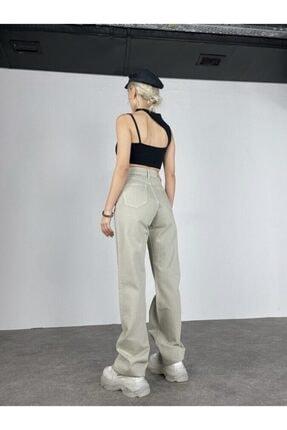HOLLY LOLLY Kadın Haki Slim Flare Yüksek Bel Partey Jean 3